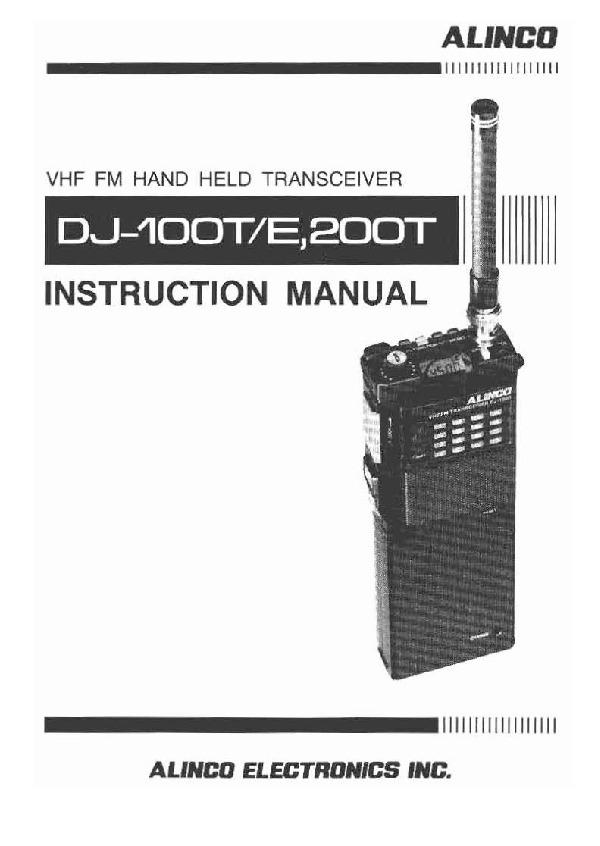 alinco dj 100 dj 200 te owners manual rh needmanual com DJ Alinco X11t Alinco 1980 Hand Talky