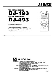 Alinco DJ-193 DJ-493 VHF UHF FM Radio Instruction Owners Manual page 1