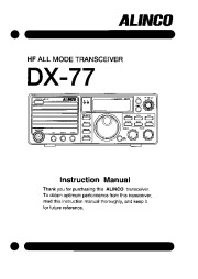 Alinco DX-77 HF FM Radio Owners Manual page 1