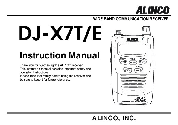 Alinco Djx7 Te Fm Radio Instruction Owners Manualrhconsumerelectronicneedmanual: Fm Radio Page At Elf-jo.com