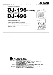 Alinco DJ-196 DJ-496 VHF UHF FM Radio Owners Manual page 1